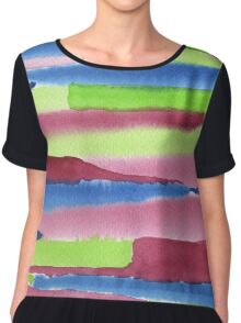 Watercolor Hand Painted Red Blue Green Stripes Background Chiffon Top