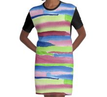 Watercolor Hand Painted Red Blue Green Stripes Background Graphic T-Shirt Dress