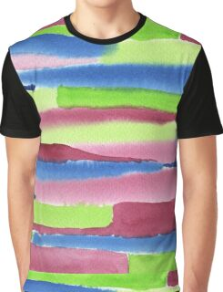 Watercolor Hand Painted Red Blue Green Stripes Background Graphic T-Shirt