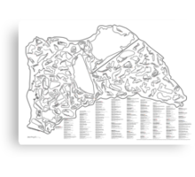 Race Tracks to Scale V2 - Listed and Labelled Canvas Print