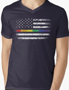American Flag - LGBT Pride Rainbow Shirts, Gay and Lesbian t-shirt, Funny Gifts Mens V-Neck T-Shirt