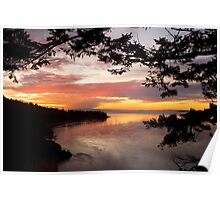 Sunset over Deception Pass, Washington state Poster