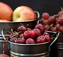 Buckets of Fresh Fruit by Sherry Hallemeier
