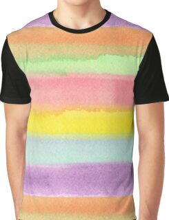 Watercolor Hand Painted Rainbow Stripes Background Graphic T-Shirt