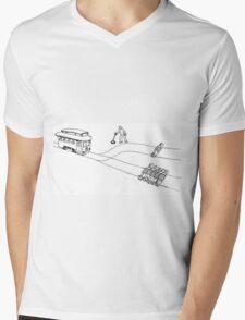 Trolley Problem Mens V-Neck T-Shirt