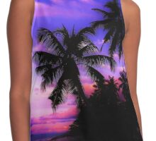 Palm Paradise - Pink and Purple Contrast Tank