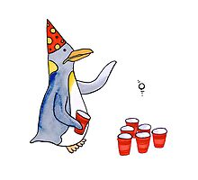 Beer Pong Penguin by izzieglencross