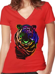 Punk Tiger Women's Fitted V-Neck T-Shirt