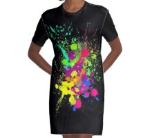 COLORBURST Spatter Print  Graphic T-Shirt Dress