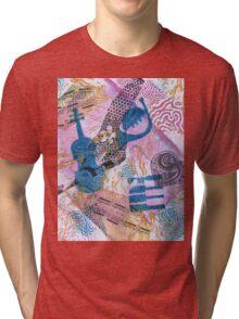 Musical Memories 5 Faux Chine Colle Monoprint Tri-blend T-Shirt
