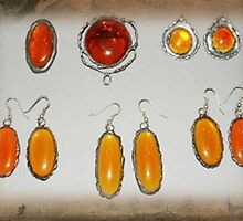 Amber Glass Jewel Earrings and Brooches by Maree  Clarkson