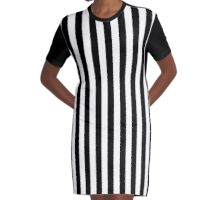 Black & White Striped Dress Graphic T-Shirt Dress