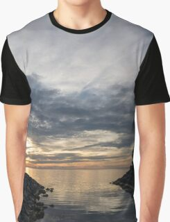 Waterscape In Gray And Yellow Graphic T-Shirt