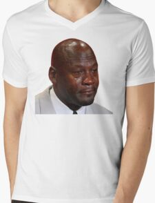 High Quality Crying Jordan Mens V-Neck T-Shirt
