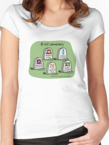 8-bit cemetery Women's Fitted Scoop T-Shirt