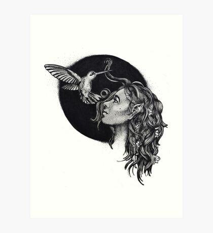 Elf And Hummingbird Art Print