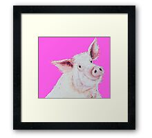 Pig Painting on hot pink Framed Print