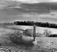 Crash-landing Bf 109 black and white version by Gary Eason + Flight Artworks