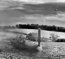 Crash-landing Bf 109 black and white version by Gary Eason + Flight Artworks