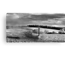 Crash-landing Bf 109 black and white version Canvas Print