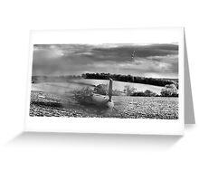 Crash-landing Bf 109 black and white version Greeting Card