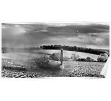 Crash-landing Bf 109 black and white version Poster