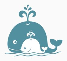 Cute animals family. Mom Whale and baby Whale. by zoooooya