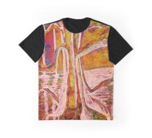 Red-Gold Autumn Glow River Tree Graphic T-Shirt