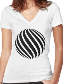 Abstract swirl sphere - version 1 - black Women's Fitted V-Neck T-Shirt