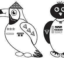 Theseus the Toucan and Pollux the Penguin by JBarillas
