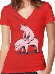 Piggy Back Ride Women's Fitted V-Neck T-Shirt