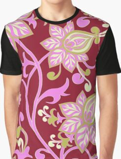 Pink Green Floral Wallpaper Pattern Graphic T-Shirt