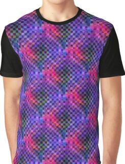 Retro-Checkerboard Tie-Dye Swirl Graphic T-Shirt