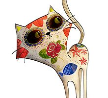 El Dia de Los Muertos White Cat by colonelle