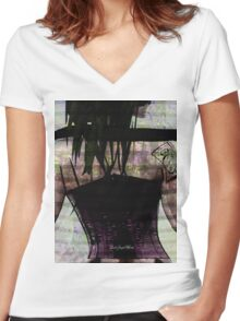 Woman In Corset Women's Fitted V-Neck T-Shirt