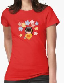 Japanese Summer Kokeshi Doll Womens Fitted T-Shirt