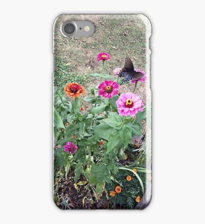 Butterfly on Zinnias iPhone Case/Skin