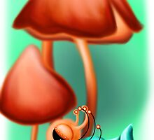 prettiest snail in the mushroom forest by tentaclemade
