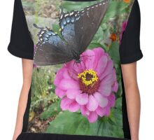 Butterfly on Zinnias Chiffon Top