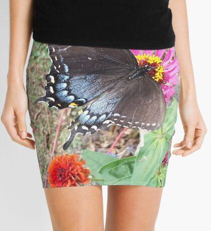 Butterfly on Zinnias Mini Skirt