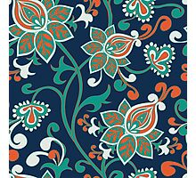 Red Teal Floral Wallpaper Pattern Photographic Print