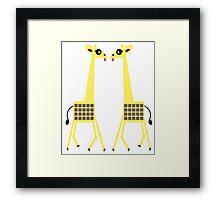 Giraffes kissing Framed Print