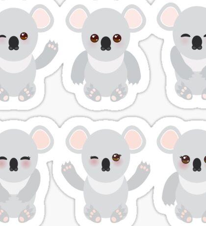 Funny koala on black Sticker