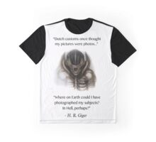 H. R. Giger Quote w/ '78 Alien Drawing (white background only) Graphic T-Shirt