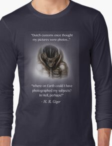 H.R. Giger Quote w/ '78 Alien Drawing (dark backgrounds only) Long Sleeve T-Shirt