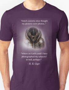 H.R. Giger Quote w/ '78 Alien Drawing (dark backgrounds only) Unisex T-Shirt
