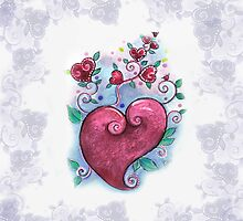 Doodled Hearts Design Pillow by Robin Pushe'e