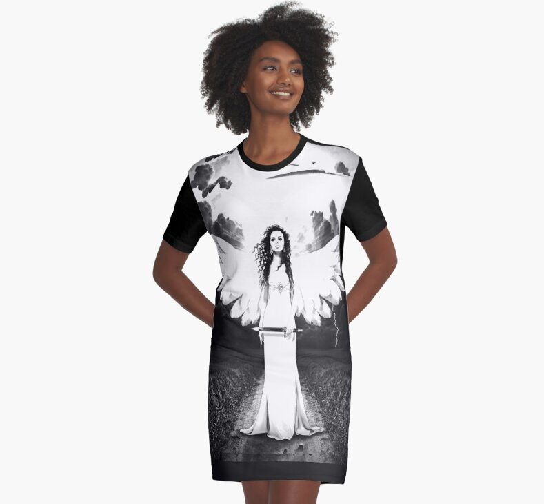 Black & White Angel Graphic T-Shirt Dress