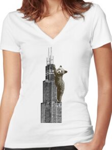Sears Tower Cub Women's Fitted V-Neck T-Shirt