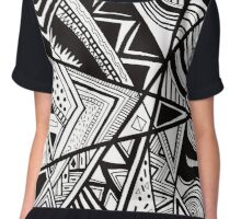 Abstract Black and White Chiffon Top